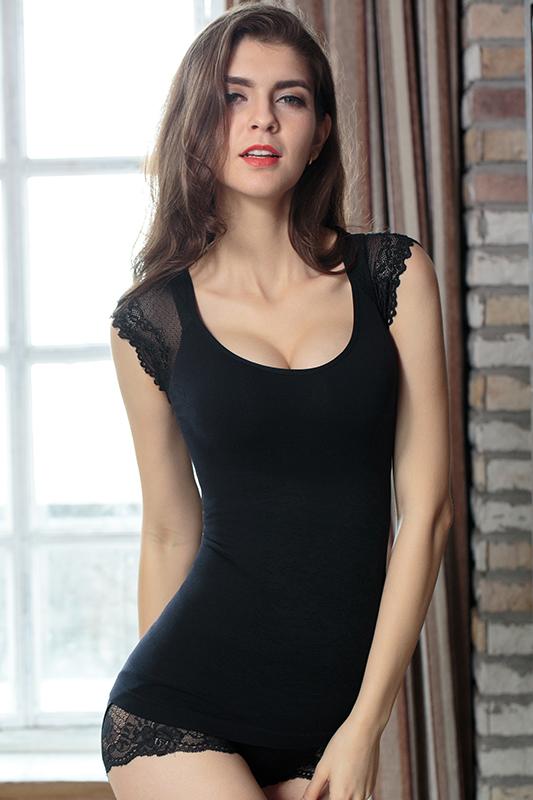 黑色花边蕾丝短袖塑身上衣