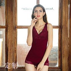 酒红托胸蕾丝花边套装